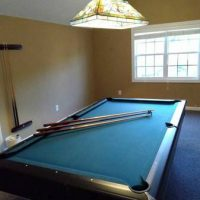 Full Size Pool Table, Cues, And Billiard Lamp
